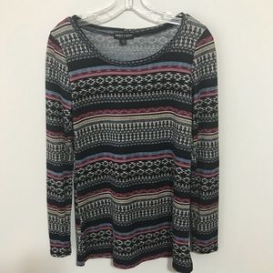 About a Girl Long Sleeved Top in Tribal Print  Lg